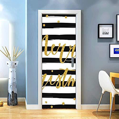 KEXIU 3D Letras doradas a rayas PVC fotografía adhesivo vinilo puerta pegatina cocina baño decoración mural 77x200cm