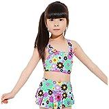 ヤング(Young) 水着 子供 女の子 (2-5歳) 子供水着 2点セット かわいい 生地 縫製 しっかり 着やすい 2色 スイミング ウェア ボーダー スカート ストライプ セパレート キッズ タンキニ 女児 ジュニア (ブルー)