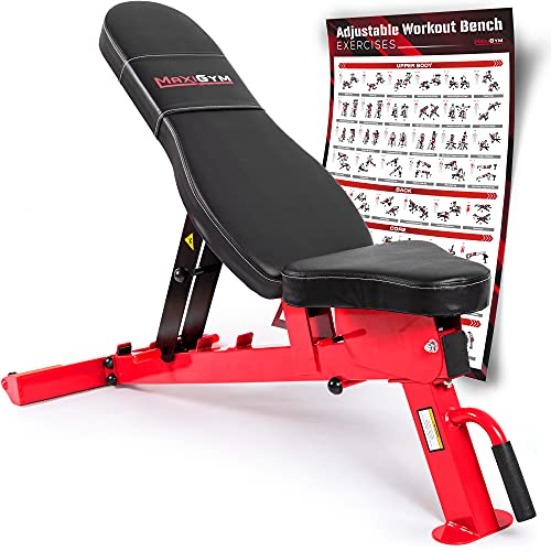 MaxiGym Heavy Duty Adjustable Weight Bench [2021 Version] - Workout Bench with 10 Positions, 1000lb Max Capacity - Includes Exercise Bench Poster - Perfect Incline Bench for Home Gym & Weight Lifting