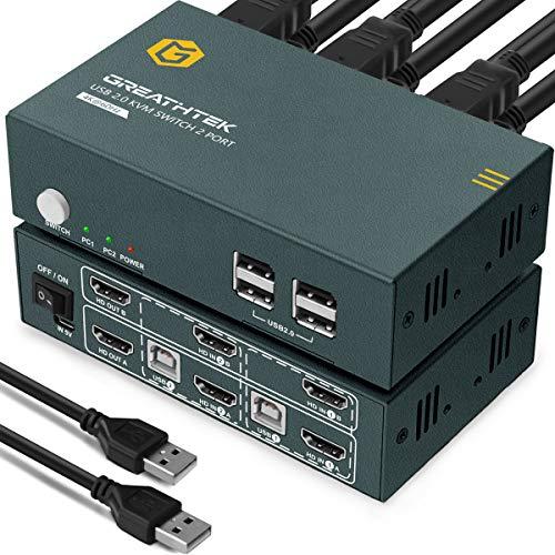 HDMI KVM Switch Dual Monitor 2 Port 4K, 4K@60Hz,4 USB 2.0,2 PC 2 Monitor Switch,HDMI 2.0,HDCP2.2,Mit 4 HDMI und 2 USB Kabel,Umschalter KVM