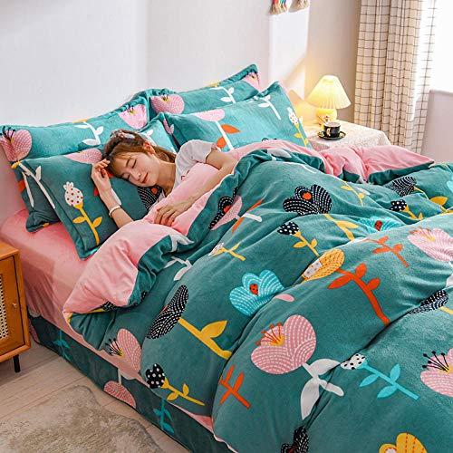 funda de edredón para cama individual-Invierno engrosamiento versión AB terciopelo de leche de cuatro piezas de franela sábana cálida de doble cara funda de edredón kit de cama-K_Cama de 1,8 m (4 pie