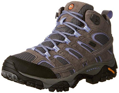 Merrell Women's Moab 2 Mid Waterproof Grey/Periwinkle Hiking Boot 9 M US