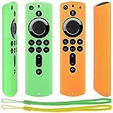 Pinowu Fernbedienung Schutzhülle kompatibel mit Fire TV Stick 4K Alexa-Sprachfernbedienung, Stoßfestes Silikon Haut mit Trageschlaufe (2 Stück: Grün & Orange)