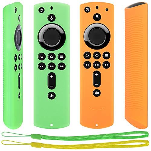 Pinowu Antidérapant Housse Coque [Sangle Incluse] Compatible avec Fire TV Stick 4K / Fire TV Stick (2nd Gen)/ Fire TV Cube/Fire TV (3rd Gen) Télécommande (2pcs: Vert et Orange)