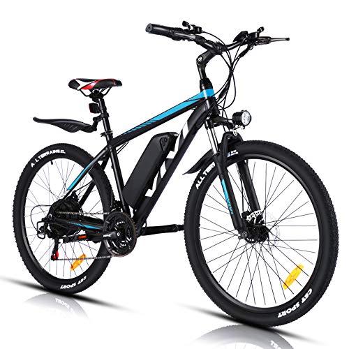 VIVI Vélo Électrique Adulte Vélo de Montagne 26' avec Moteur 250W, Batterie 36V/10.4Ah Amovible/Engrenages 21 Vitesses/Vitesse Maximum 25km/h/Kilométrage de Recharge Jusqu'à 50km (Noir et Bleu)