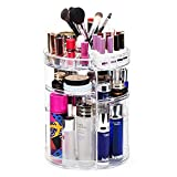 360-Degree Rotating Clear Makeup Organizer, Adjustable Acrylic Makeup Organizer with Makeup Brushes and Lipsticks Storage Grid, Cosmetic Storage for Vanity Countertop and Bathroom Dresser