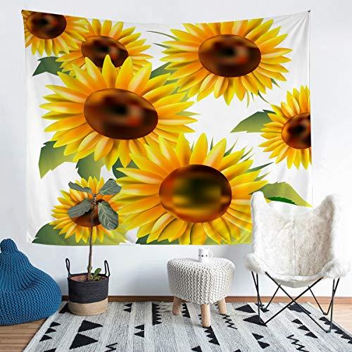 Loussiesd Manta de pared con diseño de girasol, flores y flores, para colgar en la pared para niños y niñas, ramas botánicas amarillas, decoración de la habitación, extragrande, 69 x 91