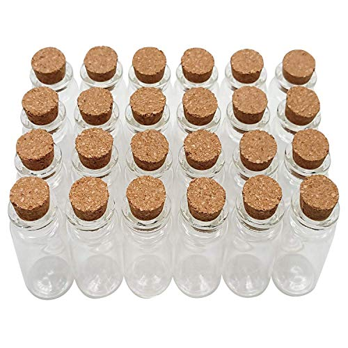 Axe Sickle 10 mL Cork Stopper Glass Bottles Mini Clear Glass Bottles 24 Pcs.