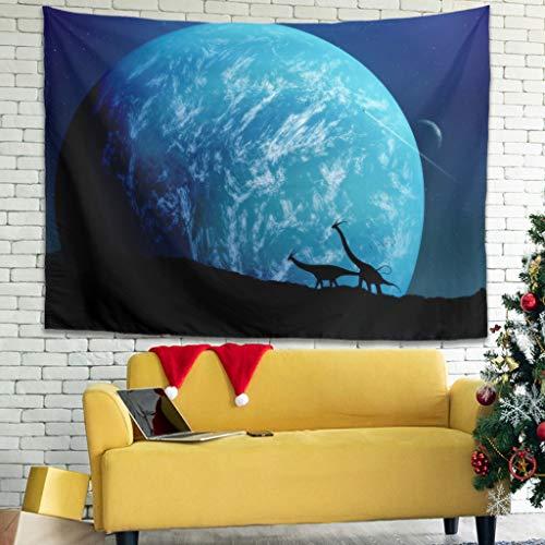 Tapiz Fantasy Drachen Berg Azul Luna Planet Cielo Noche Impresión Tacho Playa Tradicional Blanco 150 x 130 cm
