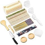 Sushi Making Kit,DIY Sushi Maker Mold,Sushi Maker Tool Set,including Bamboo Sushi Rolling Mats,Sushi Knife,Trigangle/Nigiri/Temaki Sushi Mold, Bamboo Paddle Spreader,Chopsticks, Sauce Dish
