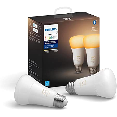 Philips Hue White Ambiance 2-Pack A19 LED Smart Bulb, Bluetooth & Zigbee compatible (Hue Hub Optional),Works with Alexa & Google Assistant – A Certified for Humans Device
