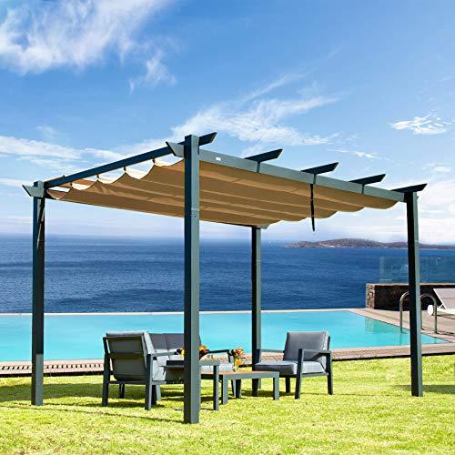 Outdoor Pergolas (2021 New) - Patio Aluminum Retractable Pergola Outdoor Gazebo Heavy Duty Grape Trellis Sunshade Canopy for Courtyard, Pool, Garden by domi outdoor living (Palawan 10x13ft)
