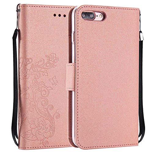 iPhone 8 Plus Hülle [Gratis Displayschutzfolie], [5 Karten] [Abnehmbare Magnetische] [Transparenter TPU Stoßfänger] Brieftasche Hülle Schutzhülle für Apple iPhone 8 Plus, Glitzer Roségold