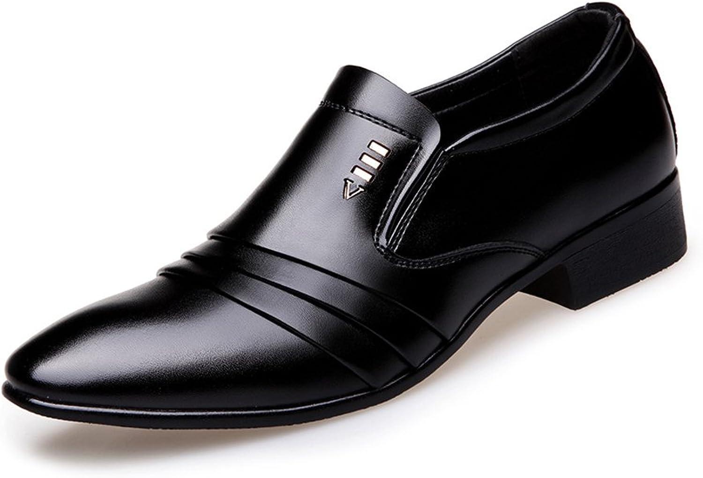 Z.L.F Modern Men's PU Leather shoes Black Matte Overlap Splice Vamp Slip-on Lined Business Oxfords