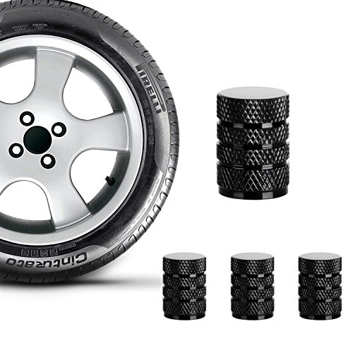 Valve Caps Prevent Corrosion,Car Dust Caps,Carsemoo Universal Aluminum&Plastic Wheel Tire Air Caps Valve Stem Covers For Car/Motorcycle,Air Leakproof And Protection Your Valve Stem (Black 4 Pcs/Set)