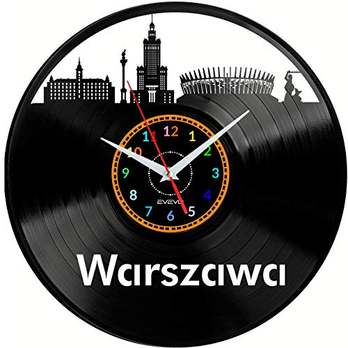 EVEVO Warszau zegar ścienny winylowy płyta gramofonowa zegar retro ręcznie wykonany prezent vintage styl pokój dekoracja domu wspaniały prezent zegar Warszawa