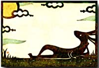 切り絵ポストカード 「月見うさぎ」 秋の絵葉書 和道楽