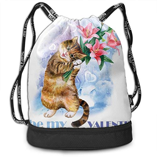NoBrand Drawstring Backpack String Bag Casual, D4156 Be My Love Theme With A Little Cute Baby Kitten And Garden Flowers Print
