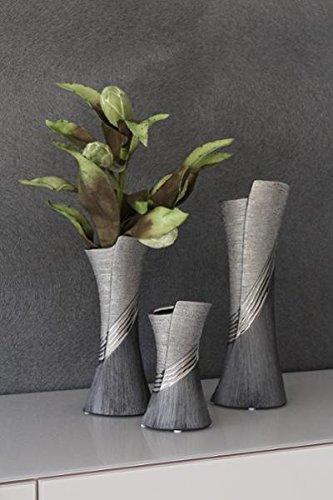 GILDE Moderne Vase Keramikvase Tischvase Dekovase Vase grau silber mit Relifierung, 9x12x30 cm