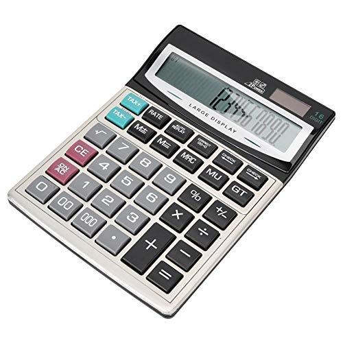 Calcolatrice Big Button 16, CT-9616 Calcolatrice energia solare a doppia alimentazione in metallo ABS, Ufficio 16 cifre Display extra large Tasti grandi Calcolatrice solare elettronica da tavolo