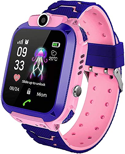 Sanyipace for Kids, Touch Screen SmartWatch with LBS Tracker SOS Two Way Call Voice Chat - (Pink)