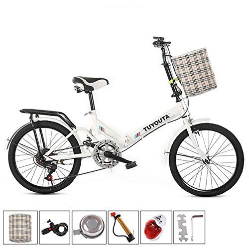 RR-YRL Damas Bicicleta Plegable, de 20 Pulgadas Bicicleta de Carretera Ciudad, 6 velocidades, el Marco de Acero al Carbono, Bolsa de Almacenamiento Agregado,Blanco