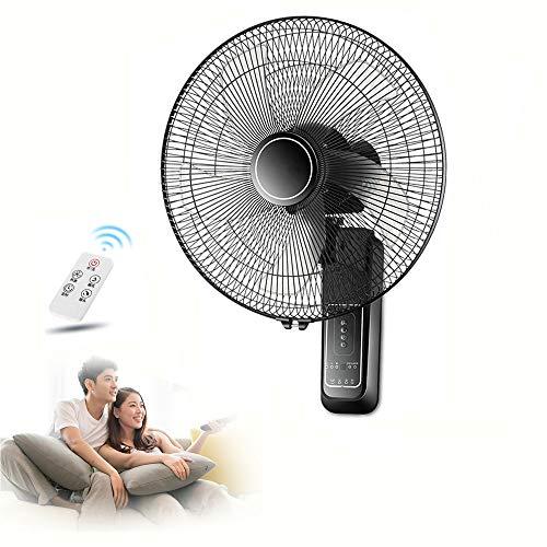 XYL Ventilador de Pared 16 /18pulgadas, Mando a Distancia Ventilador de Pared oscilante, 3 velocidades de ventilación, para el hogar, Cocina, almacén, Restaurante, Garaje,Negro