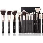 Luxury 15 pc Rose Gold Makeup Brush Set with Natural Hair and Premium Bag