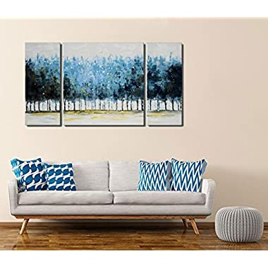Tree Wall Art Set Hand-painted 'Mysterious Forest' 3-piece Large Modern Blue Gallery-wrapped Framed Oil Painting on Canvas for Living Room Decor (20x20inchesx1 piece, 10x20inchesx2 piece)