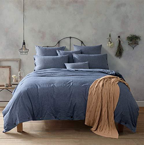 Doffapd Duvet Cover King, Washed Cotton Duvet Cover Set - 3 Piece (King, Denim Blue)