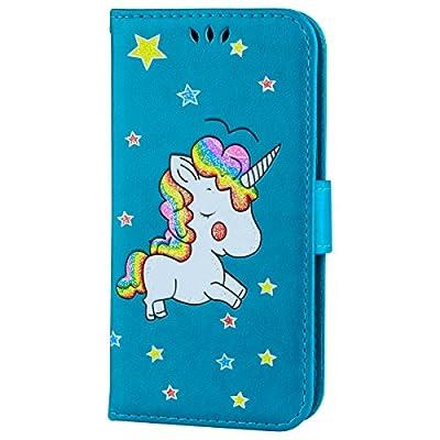 Ailisi Funda Samsung Galaxy J3 2016, [Unicornio] PU Leather Carcasa, Anti-rayones Wallet Flip Case Cover con Cierre Magnético (Azul)