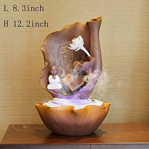 Fontaine à Eau en résine, décoration intérieure Fengshui Fontaine Zen de Table Fontaine à Eau humidificateur Fontaine intérieure pour Jardin Salon Chambre