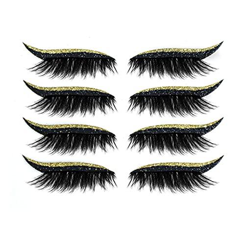 Faux Cils 3D Faux-cils Réutilisables Imperméable Full Eye Faux Cil Naturel Avec Colle 4 Paires/1 Paires Individuel Eyeliner Faux Cils (A-4 Paires-Or)