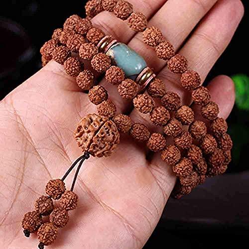 ZHIRCEKE 108 Cuentas Pulsera Tibetano Budista Buda Natural Bodhi Rudraksha Oración Mala Collar Joyería