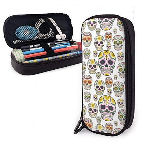 OUYouDeFangA Totenkopf-Deko-Beutel aus PU-Leder tragbare Tasche für Studenten Bleistifte Büro Schreibwaren Tasche Reißverschluss Geldbörse Make-up Multifunktionstasche