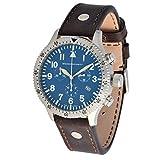 Messerschmitt Herren Quarz Chronograph 5030LB Blau Ronda Swiss Movement 5ATM mit braunen Lederarmband