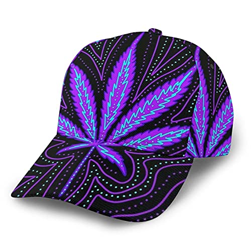 HARLEY BURTON Unisex Gorra de béisbol impresa entera psicodélico marihuana neón violeta ajustable empalme Hip Hop Cap Sun Hat