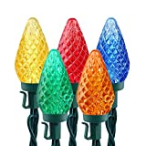 Brizled C9 Christmas Lights Multicolor,16ft 25 LED Faceted C9 Outdoor Christmas Lights, 120V UL Certified, Connectable for Christmas Tree, Wreath, Garland, Garden, Yard, Party, Home, Patios Decoration