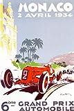 KEAPSIGN Letrero de metal clásico retro – 6 ème Grand Prix Automobile Monaco Vintage French Auto...