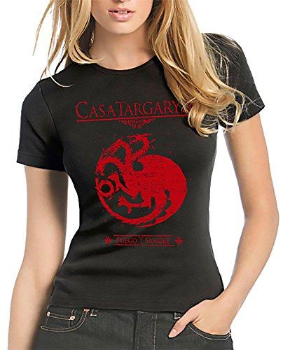 212-Camiseta Mujer Juego De Tronos - Casa Targaryen (L, Negro)