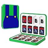 MoKo Funda para Almacenamiento para Switch Juegos Compatible con Nintendo Switch & Switch Lite & Switch OLED, Organizador de 16 Tarjetas de Juego Impermeable Estuche Caja de Tarjeta - Mario Verde