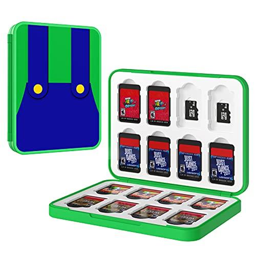 MoKo Aufbewahrungsbox für Switch Spielkarten Kompatibel mit Spiele der Nintendo Switch & Switch Lite & Switch OLED 2021, 16 in 1 Game Card Genrics Speicherkarten Spiele Tasche Organizer, Grüner Mario