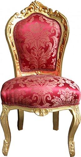 Casa Padrino Barock Esszimmer Stuhl Bordeaux Muster/Gold ohne Armlehnen - Antik Möbel