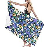 Toalla de Playa Lindas Toallas de baño de Flores Multicolores Dibujadas para Hombres y Mujeres, adecuadas para Nadar, Viajes de Aguas Termales, Deportes de Yoga, Acampar, Cubierta de Hamaca para bañ