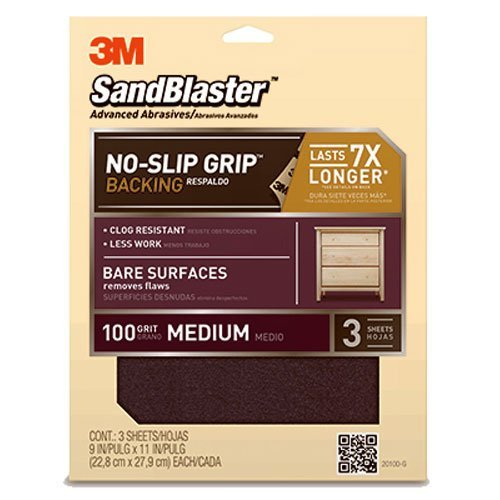 3M SandBlaster Bare Surfaces Sandpaper, 100-Grit, 9-Inch by 11-Inch