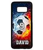 Galaxy S8 Case, ArtsyCase Thunder Water Fire Soccer Ball Personalized Name Number Phone Case for Samsung Galaxy S8 (Black)