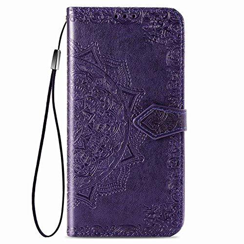 Jeelar Funda para iPhone 12 Pro MAX (6.7 Inch) Funda, Suave PU Cuero Flip Carcasa Case Cover, Cubierta Magnética en Relieve de la Mandala, Billetera con Soporte/Tapa Tarjetas.