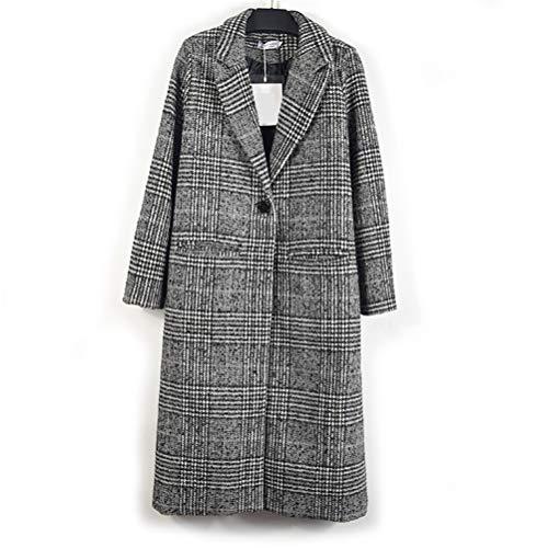Male god Abrigo de lana para mujer a cuadros clásicos femeninos sueltos largos con botonadura para otoño e invierno (tamaño: XXL)
