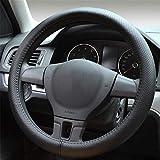 Proumhang Cubierta del volante del automóvil Cubierta del volante automático Cuero genuino Transpirable 37-38cm-Negro