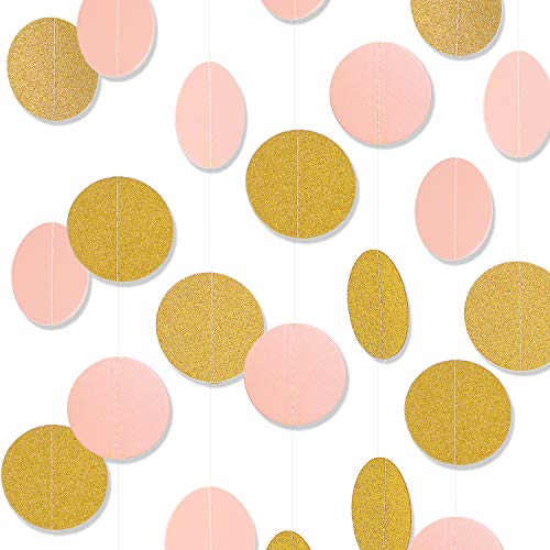 Paper Garland, MerryNine 5 Pack 33ft Glitter Paper Garland Circle Dots Hanging Decor, Paper Banner for Baby Shower, Birthday, Nursery Party Decor (Circle Polka Dots- Pink Gold 5pack 33ft)